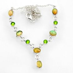925 silver 17.36cts natural multi color ethiopian opal peridot necklace d44540