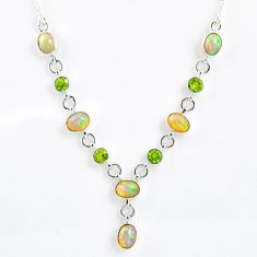 925 silver 14.27cts natural multi color ethiopian opal peridot necklace r59484