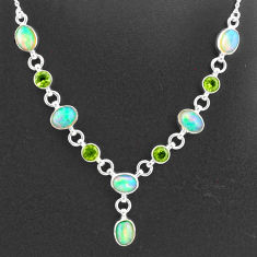 925 silver 16.83cts natural multi color ethiopian opal peridot necklace t2948