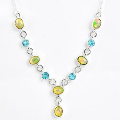 925 silver 14.27cts natural multi color ethiopian opal topaz necklace r59493