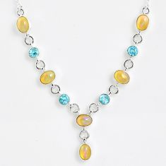 925 silver 14.42cts natural multi color ethiopian opal topaz necklace r59498