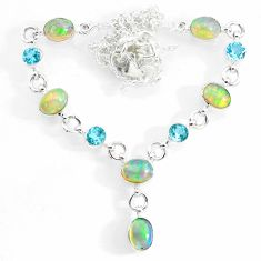 925 silver 15.16cts natural multi color ethiopian opal topaz necklace r73110