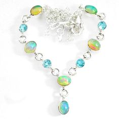 925 silver 16.18cts natural multi color ethiopian opal topaz necklace r73114