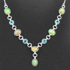 925 silver 16.65cts natural multi color ethiopian opal topaz necklace t2944