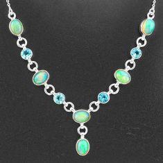 925 silver 16.84cts natural multi color ethiopian opal topaz necklace t2956