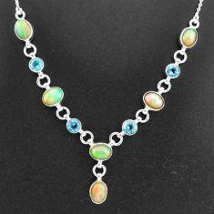 925 silver 16.60cts natural multi color ethiopian opal topaz necklace t2959