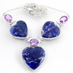 925 silver 60.08cts natural orange sodalite amethyst heart necklace r71623