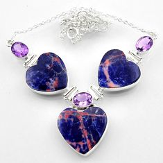 925 silver 51.20cts natural orange sodalite heart amethyst necklace r52340
