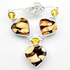 925 silver 46.60cts natural peanut petrified wood fossil heart necklace r52333