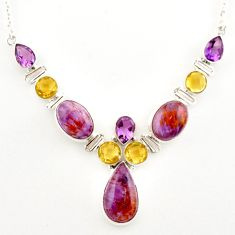 925 silver 52.12cts natural purple cacoxenite super seven pear necklace r27540
