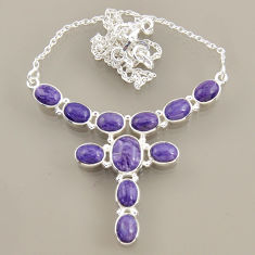 925 silver 26.80cts natural purple charoite (siberian) oval necklace r47610