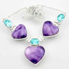 925 silver 44.80cts natural purple tiffany stone topaz heart necklace r52337