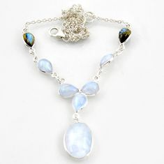 925 silver 30.91cts natural rainbow moonstone blue labradorite necklace d45876
