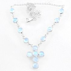 925 silver 19.43cts natural rainbow moonstone round cross necklace r71999