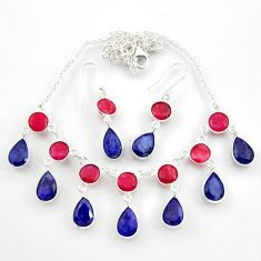 925 silver 55.86cts natural red ruby blue sapphire earrings necklace set d45857