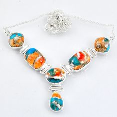925 silver 30.46cts natural spiny oyster arizona turquoise necklace r56076