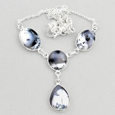 925 silver 23.11cts natural white dendrite opal (merlinite) necklace t45266