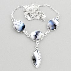 925 silver 21.48cts natural white dendrite opal (merlinite) oval necklace t45269