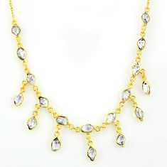 925 silver 22.15cts natural white herkimer diamond 14k gold necklace r64243