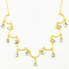 925 silver 21.48cts natural white herkimer diamond 14k gold necklace r64249