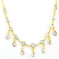925 silver 20.65cts natural white herkimer diamond 14k gold necklace r64254