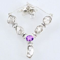 925 silver 29.23cts natural white herkimer diamond amethyst necklace r61184