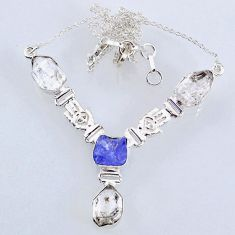 925 silver 26.33cts natural white herkimer diamond necklace jewelry r61191