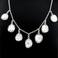 925 silver 27.70cts natural white pearl handmade necklace jewelry r71615