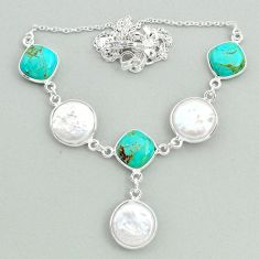 925 silver 30.44cts natural white pearl arizona mohave turquoise necklace t37273