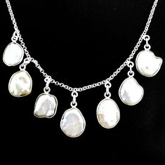 925 silver 30.86cts natural white pearl fancy handmade necklace r71609