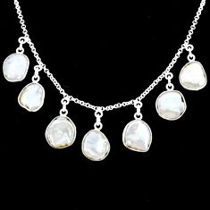 925 silver 28.73cts natural white pearl fancy shape handmade necklace r71612