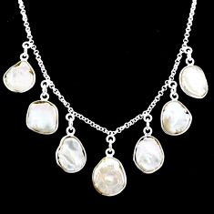 925 silver 27.70cts natural white pearl fancy shape necklace r71617