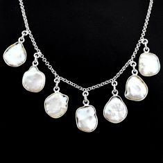 925 silver 30.40cts natural white pearl fancy shape handmade necklace r71620