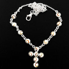 925 silver 12.04cts natural white shiva eye cross necklace jewelry r63589