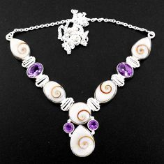 925 silver 45.68cts natural white shiva eye purple amethyst necklace r58711