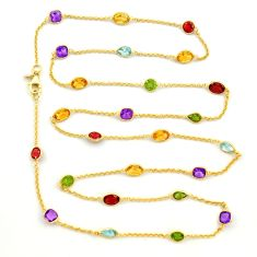 925 silver 33.67cts natural yellow citrine amethyst gold chain necklace r31476