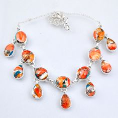 925 silver 69.39cts spiny oyster arizona turquoise oval shape necklace r56105