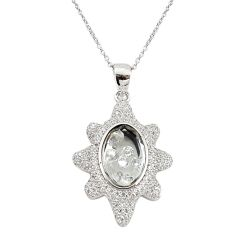 925 silver white cubic zirconia topaz moving stone necklace jewelry c22278