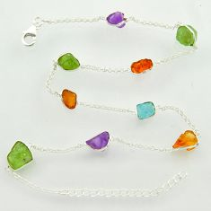 925 silver 26.50cts yellow citrine rough peridot rough chain necklace r31520