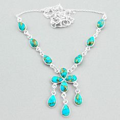 925 silver 20.51cts blue copper turquoise pear necklace jewelry t34128