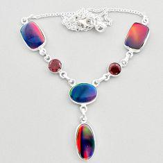 925 sterling silver 23.20cts fine volcano aurora opal garnet necklace t45260
