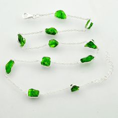925 sterling silver 25.86cts green chrome diopside rough chain necklace r31506
