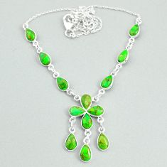 925 silver 20.46cts green copper turquoise necklace jewelry t34113