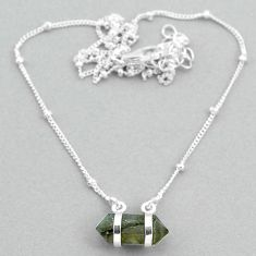 925 silver 4.82cts labradorite healing double pointer necklace t34091