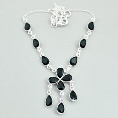 Clearance Sale- 925 silver 19.99cts natural black onyx pear necklace jewelry t34108
