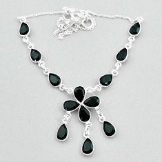 Clearance Sale- 925 silver 18.88cts natural black onyx pear necklace jewelry t34133
