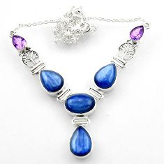 925 sterling silver 34.26cts natural blue kyanite amethyst necklace r52256