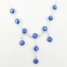 925 sterling silver 16.89cts natural blue kyanite cushion necklace t2488