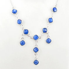 925 sterling silver 16.11cts natural blue kyanite cushion shape necklace t2498