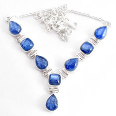 925 sterling silver 32.05cts natural blue kyanite necklace jewelry t2578